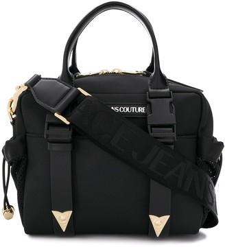 Versace Logo Patch Mesh Detail Tote Bag