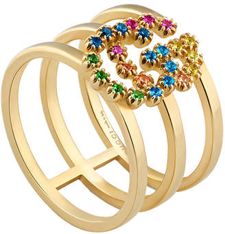 Gucci GG Running Ring in 18KT Yellow Gold & Multicolor   FWRD