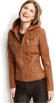 MICHAEL Michael Kors Hooded Leather Jacket