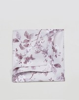 Asos Pocket Square In Grey And Lilac Floral