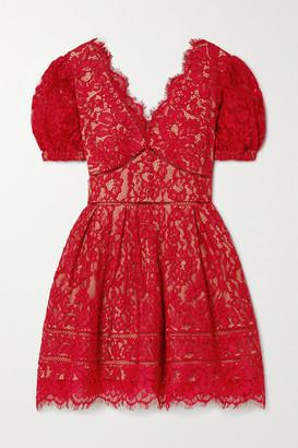 Self-Portrait Crochet-trimmed Cotton-blend Corded Lace Mini Dress - Red