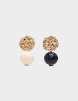 Modern Weaving Mini Textured Globe Earrings in Black / White