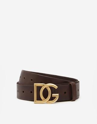 Dolce & Gabbana Split-Grain Leather Belt With Crossover Logo