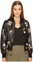 Kate Spade In Bloom Leather Bomber Jacket Women's Coat
