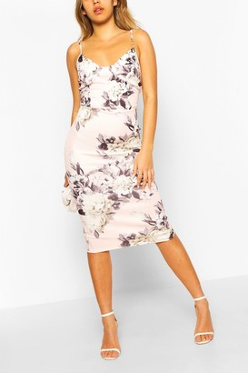 boohoo Corset Floral Print Bodycon Midi Dress
