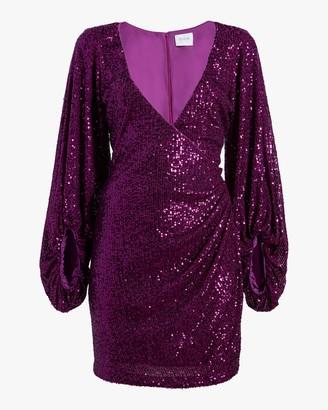 ONE33 SOCIAL Puffed-Sleeve Sequin Mini Dress