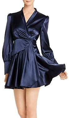 OPT Chloe Satin Mini Wrap Dress