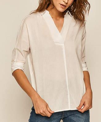 medicine Women's Blouses white - White Collared Notch Neck Top - Women