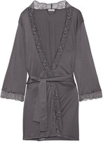 Hanro Ginevra Lace-trimmed Modal-jersey Robe - Anthracite