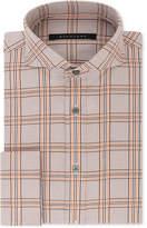Sean John Men's Classic/Regular Fit Brown and Orange Check French Cuff Dress Shirt