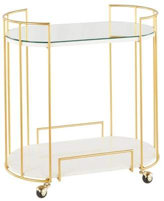 Lumisource Canary Contemporary Glam Bar Cart Mirror Gold/White Marble