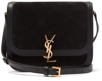 Saint Laurent Solferino plaque Suede Shoulder Bag - Black