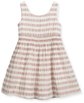 Burberry Mariela Sleeveless Striped Open-Back Dress, Light Copper Pink, Size 4-14