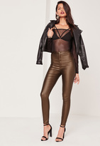 Missguided Highwaisted Coated Skinny Jeans Brown