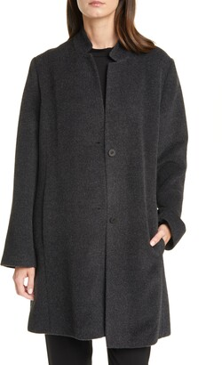 Eileen Fisher Notch Collar Alpaca & Wool Blend Coat