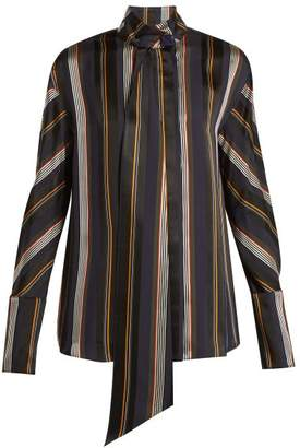 Roksanda Mila Striped Satin Blouse - Womens - Green Stripe