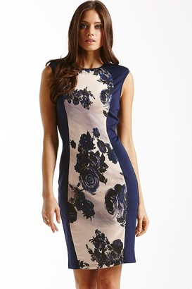 Little Mistress Navy Panelled Floral Front Dress