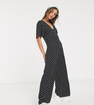Miss Selfridge Petite spot jumpsuit in black