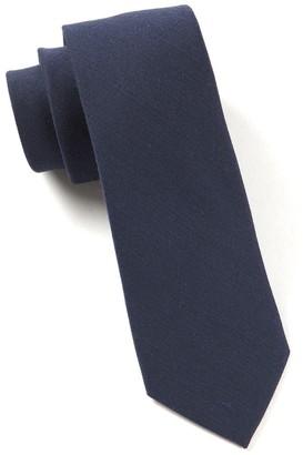 Tie Bar Solid Wool Navy Tie