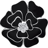 Front Row Silver Colour and Black Enamel and Crystal Flower Brooch