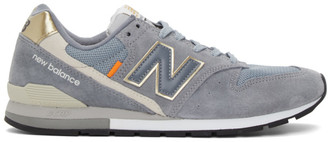 New Balance Grey and Gold 996 Sneakers