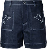 Markus Lupfer rabbits embroidered denim shorts - women - Cotton/Polyurethane - L