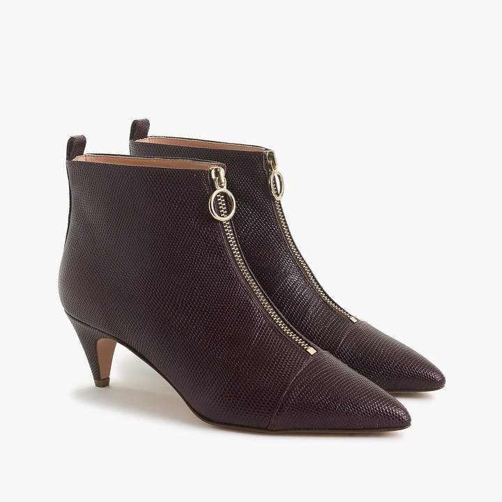 J.Crew Pointy kitten-heel ankle boots with front zip