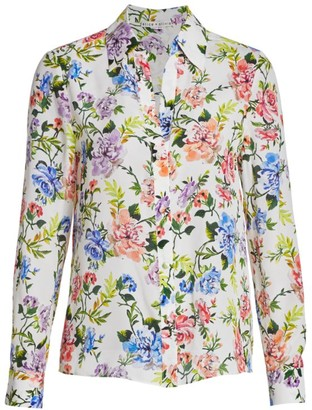 Alice + Olivia Eloise Floral Cotton & Silk Shirt