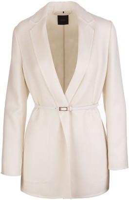 Agnona White Belted Cashmere Blazer