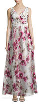 Betsy & Adam Sleeveless Floral-Print Gown