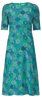 Altuzarra Sylvia Tile-print Silk-crepe Dress - Blue Print