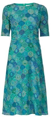 Altuzarra Sylvia Tile Print Silk Crepe Dress - Womens - Blue Print