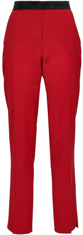 Derek Lam Silk Satin-trimmed Wool-blend Slim-leg Pants