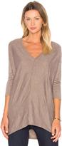 Bobi Fine Woolen Jersey 3/4 Sleeve V Neck Top