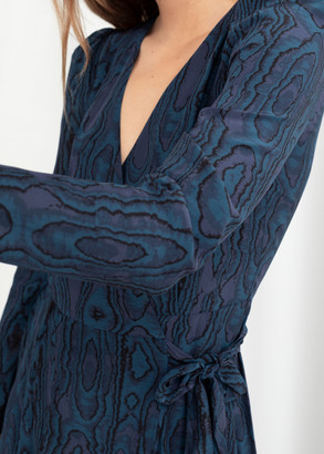 And other stories Wood Jacquard Midi Wrap Dress