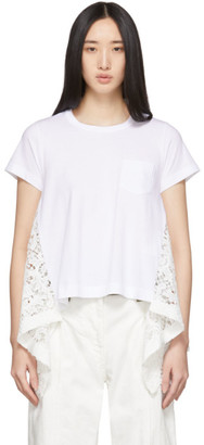 Sacai White Embroidered Lace Back T-Shirt