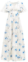Vika Gazinskaya Floral-print Cotton-blend Maxi Dress - Womens - Blue Print