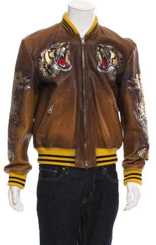Gucci 2017 Leather Appliqué Bomber Jacket