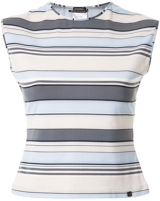 Chanel Pre Owned Striped Sleeveless Vest