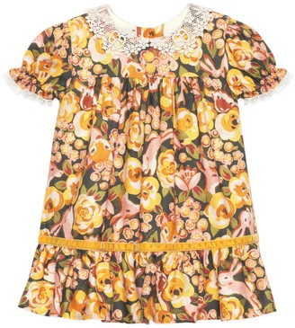 Gucci Baby roses and rabbits print viscose dress