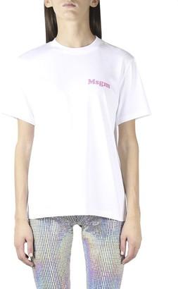 MSGM Bold Logo Crew Neck T-shirt In White Cotton