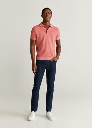 MANGO MAN - Textured knit cotton polo medium pink - S - Men