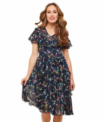 Joe Browns Womens Chiffon Short Sleeved Floral Print Dress Navy Multicoloured 10