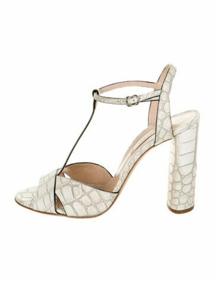 Casadei Clara Embossed Leather T-Strap Sandals White