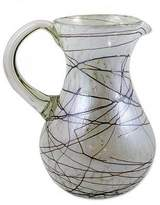Hand Blown 81 oz Glass Pitcher Brown Swirls on White, 'Brown Swirling Web'