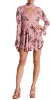 En Creme Floral Lace Trim Mini Dress