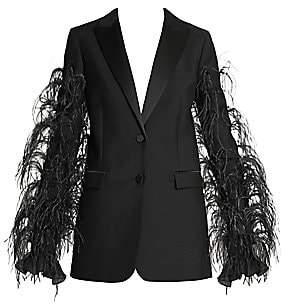 Valentino Women's Ostrich-Feather Wool & Mohair Tuxedo Jacket