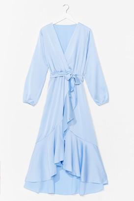 Nasty Gal Womens Best Dressed Satin Wrap Dress - Pale Blue
