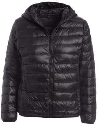 Gingerly Women's Puffer Coats BLACK - Black Lightweight Packable Down Puffer Jacket - Women