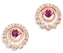 Bloomingdale's Ruby & Champagne Diamond Halo Stud Earrings in 14K Rose Gold - 100% Exclusive